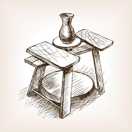 potters wheel: Potters wheel sketch style vector illustration. Old engraving imitation. Pottery wheel hand drawn sketch imitation Illustration