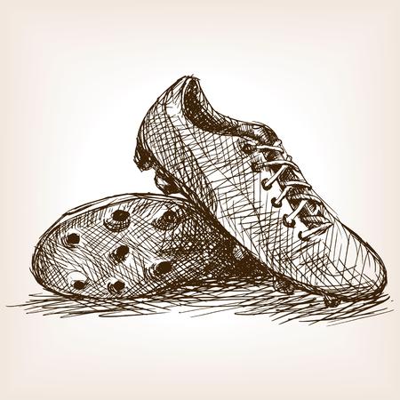 Voetbalschoenen schets stijl vector illustratie. Oude gravure imitatie. Voetbalschoenen hand getekende schets imitatie