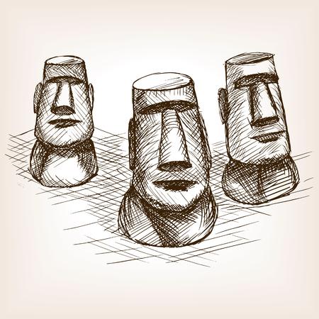 moai: ilustraci�n moai Pascua boceto isla del vector del estilo. Grabado antiguo de imitaci�n. Moai de Isla de Pascua mano hito dibujado imitaci�n boceto Vectores