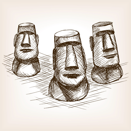 rough draft: Moai easter island sketch style vector illustration. Old engraving imitation. Moai easter island landmark hand drawn sketch imitation