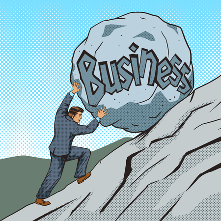 Businessman pushing a stone uphill pop art style vector illustration. Human illustration. Comic book style imitation. Vintage retro style. Conceptual illustration Illustration