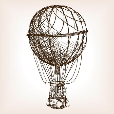 rough draft: Vintage air balloon sketch style vector illustration. Old engraving imitation. Vintage air balloon hand drawn sketch imitation