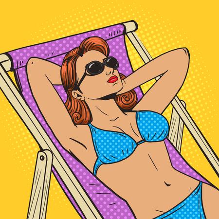 brown skin: Woman sunbathing on the beach pop art style vector illustration. Comic book style imitation. Vintage retro style. Conceptual illustration