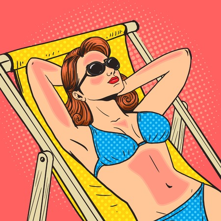 Woman got a sunburn on the beach pop art style vector illustration. Sunbathing on beach. Comic book style imitation. Vintage retro style. Conceptual illustration