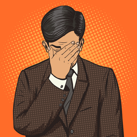 Businessman with facepalm gesture pop art style vector illustration. Human illustration. Comic book style imitation. Vintage retro style. Conceptual illustration Çizim
