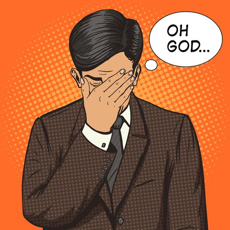 face to face: Businessman with facepalm gesture pop art style vector illustration. Human illustration. Comic book style imitation. Vintage retro style. Conceptual illustration Illustration
