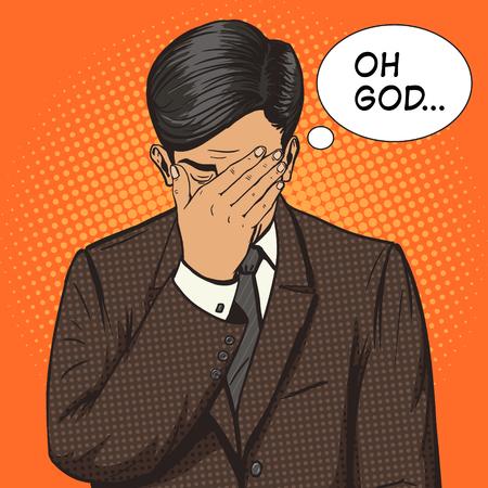 Hombre de negocios con la ilustración del vector del estilo del arte pop gesto facepalm. Ilustración humanos. Cómica imitación del estilo del libro. estilo retro de la vendimia. ilustración conceptual