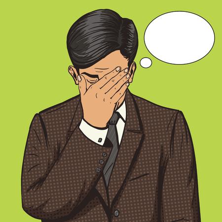 Facepalm ジェスチャー ポップアート スタイル ベクトル図で実業家。ヒューマン ・ イラストレーション。コミック スタイルの模倣。ヴィンテージ レ