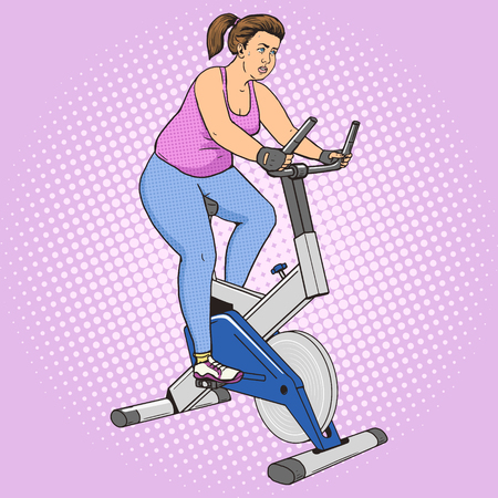 women exercise: Fat woman on exercise bike pop art style vector illustration. Losing weight. Sport illustration. Comic book style imitation. Vintage retro style. Conceptual illustration