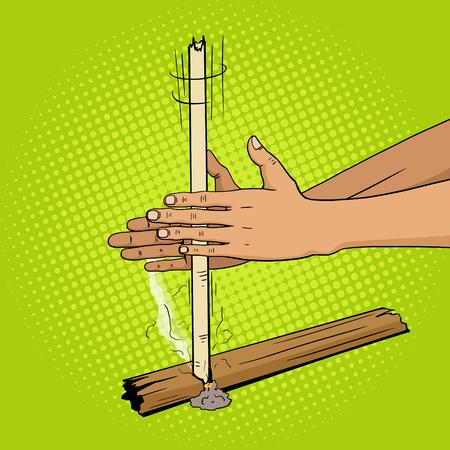 brandweer cartoon: Prehistorische productie brand door handen pop-art stijl vector illustratie. Primitieve technologie. Fire van handen. Comic book stijl imitatie. Vintage retro stijl. conceptuele illustratie