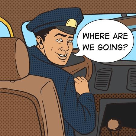 Le chauffeur de taxi dans la voiture de taxi pop vecteur de style art illustration. Comic imitation de style livre. Vintage style rétro. illustration conceptuelle