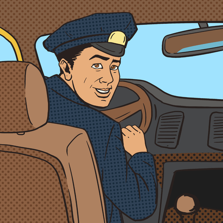 cartoon strip: Taxi driver in taxi car pop art style vector illustration. Comic book style imitation. Vintage retro style. Conceptual illustration