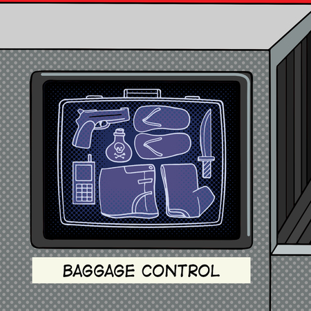 xray machine: Baggage control pop art style vector illustration. X-ray machine control baggage. Forbidden items in baggage. Comic book style imitation. Vintage retro style. Conceptual illustration Illustration