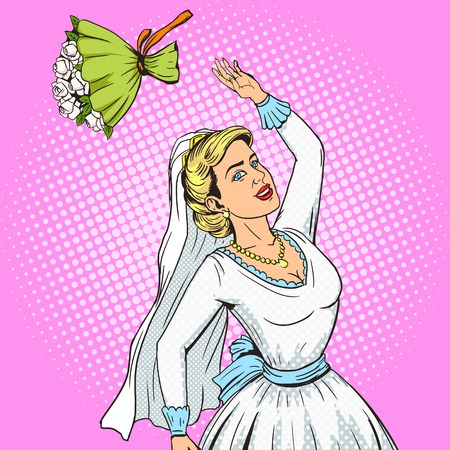 flower designs: Bride throws wedding bouquet pop art style vector illustration. Human illustration. Comic book style imitation. Vintage retro style. Conceptual illustration