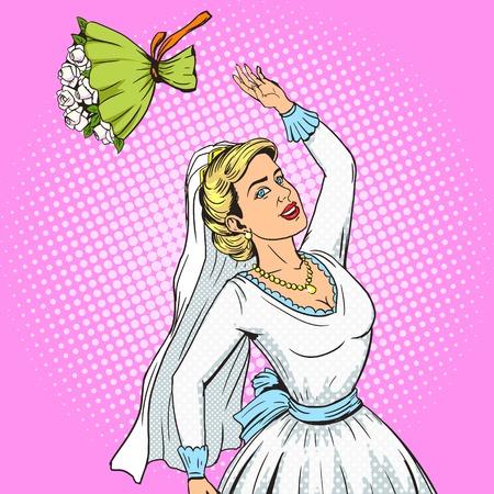 La novia lanza el ramo de la boda ilustración vectorial estilo del arte pop. Ilustración humanos. Cómica imitación del estilo del libro. estilo retro de la vendimia. ilustración conceptual Ilustración de vector