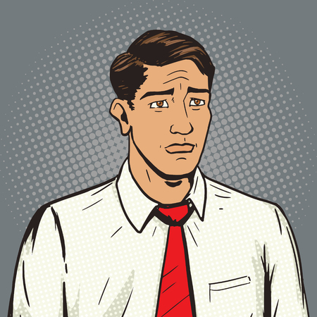 bad temper: Sad man pop art style vector illustration.  Human illustration. Comic book style imitation. Vintage retro style. Conceptual illustration