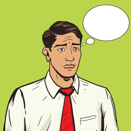 melancholy: Sad man pop art style vector illustration.  Human illustration. Comic book style imitation. Vintage retro style. Conceptual illustration