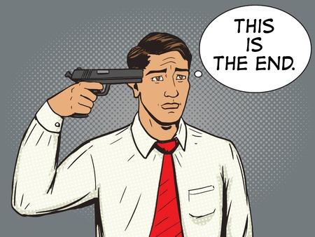 bad temper: Suicide man pop art style vector illustration.  Man with hard depression. Human illustration. Comic book style imitation. Vintage retro style. Conceptual illustration