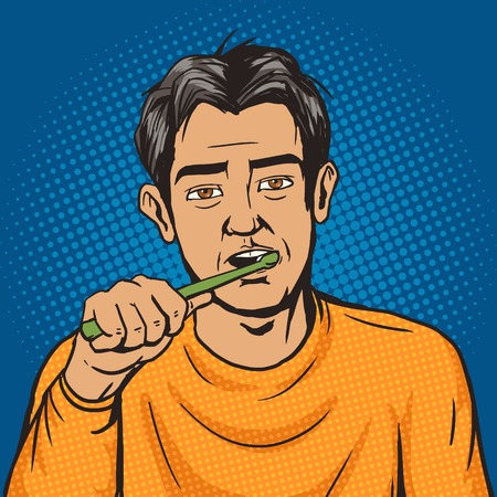 not ready: Man brushing his teeth in the morning pop art style vector. Human illustration. Comic book style imitation. Vintage retro style. Conceptual illustration