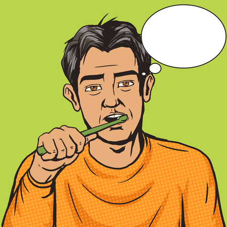 weary: Man brushing his teeth in the morning pop art style vector. Human illustration. Comic book style imitation. Vintage retro style. Conceptual illustration