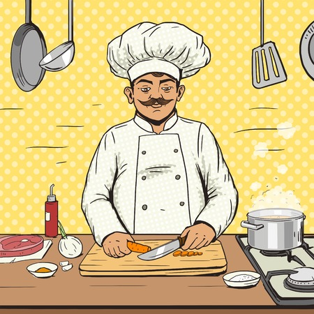 Chef cooks food pop art style vector illustration. Human illustration. Comic book style imitation. Vintage retro style. Conceptual illustration Vetores
