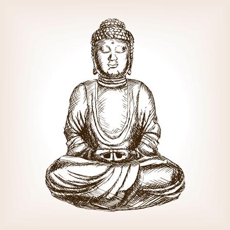 rough draft: Buddha statue sketch style illustration. Old engraving imitation. Moai easter island landmark hand drawn sketch imitation Illustration