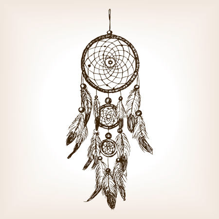 rough draft: Dreamcatcher sketch style illustration. Old engraving imitation. Dreamcatcher amulet hand drawn sketch imitation