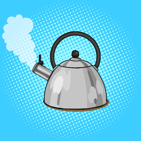 boils: Kettle boils with water pop art style vector illustration. Comic book style imitation. Vintage retro style. Conceptual illustration
