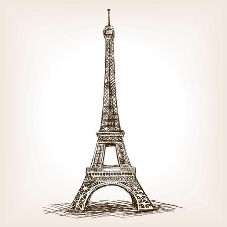 에펠 타워 스케치 스타일 그림입니다. 오래 된 조각 모방입니다. 에펠 탑 랜드 마크 손으로 그린 스케치 모방