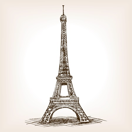 man made object: Eiffel Tower sketch style illustration. Old engraving imitation. Eiffel Tower landmark hand drawn sketch imitation