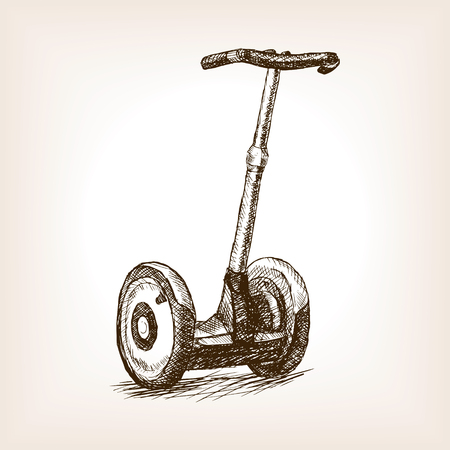 rough draft: Two whelled electric vehicle sketch style vector illustration. Old engraving imitation. Two whelled electric vehicle  hand drawn sketch imitation