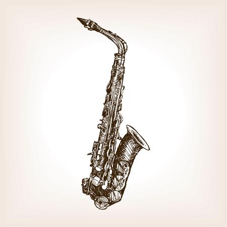 rough draft: Saxophone sketch style illustration. Old engraving imitation. Musical instrument sketch imitation Illustration