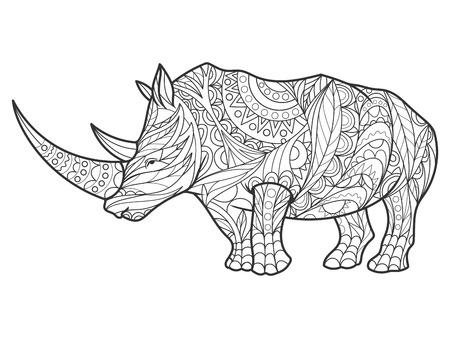 성인 그림 코뿔소 색칠하기 책. 성인 색칠 안티 - 스트레스. 스타일. 검은 색과 흰색 선. 레이스 패턴 일러스트