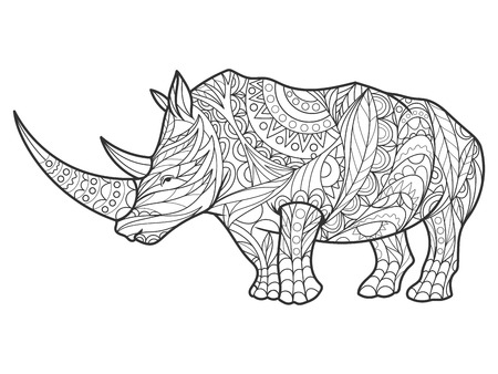 Rhinoceros coloring book for adults illustration. Anti-stress coloring for adult. style. Black and white lines. Lace pattern Ilustração