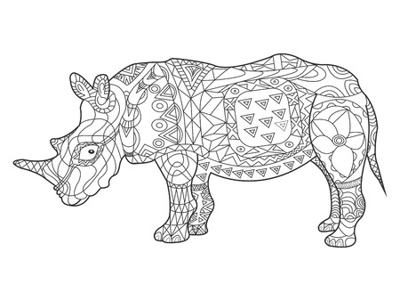 antistress: Rhinoceros coloring book for adults illustration. Anti-stress coloring for adult. style. Black and white lines. Lace pattern Illustration