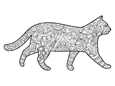 大人のイラストの塗り絵猫。大人のための着色抗ストレス。スタイル。黒と白のライン。レース パターン