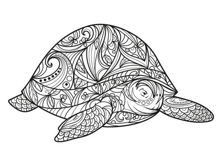 성인 그림 거북이 색칠하기 책. 성인 색칠 안티 - 스트레스. 스타일. 검은 색과 흰색 선. 레이스 패턴