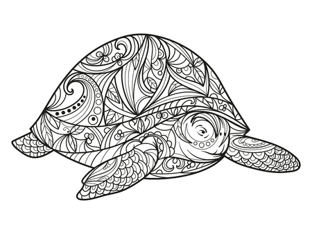 Turtle coloring book for adults illustration. Anti-stress coloring for adult. style. Black and white lines. Lace pattern Vettoriali
