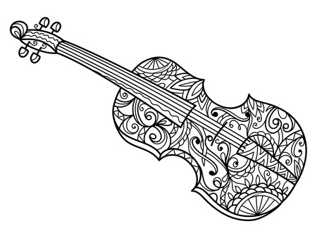 Violin coloring book for adults illustration. Violin musical instrument. Anti-stress coloring for adult. style. Black and white lines. Lace pattern