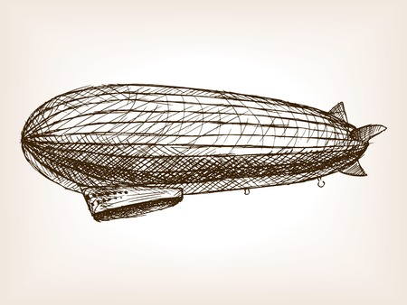 rough draft: Antique dirigible aircraft sketch style illustration. Old engraving imitation. Blimp  sketch imitation