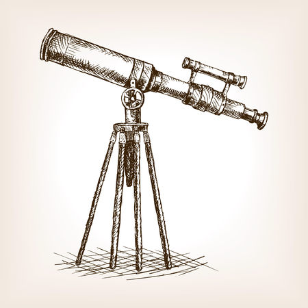 Old telescope pop art style illustration. sketch style illustration. Old engraving imitation. Old telescope  sketch imitation. Science tool Stock Illustratie
