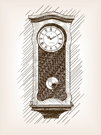 tact: Old clock with pendulum sketch style illustration. Old engraving imitation. Old clock  sketch imitation
