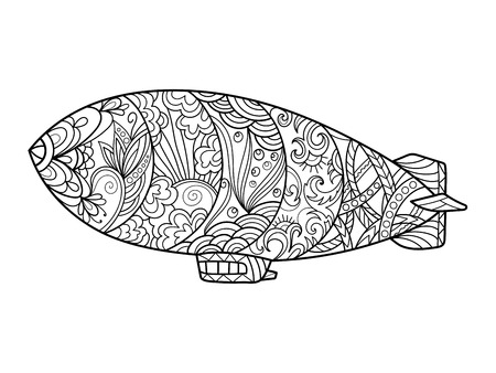 antistress: Dirigible aircraft coloring book for adults vector illustration. Violin musical instrument. Anti-stress coloring for adult. Zentangle style. Black and white lines. Lace pattern
