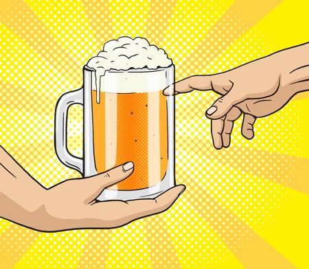 cartoon strip: Hand gives a mug of beer to other hand pop art style vector illustration. Comic book style imitation. Classic art painting imitation. Funny image with toilet paper