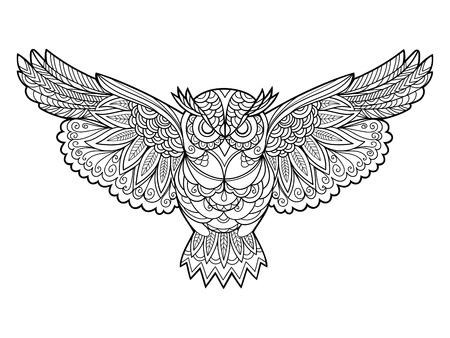 buhos: B�ho libro para colorear de aves para la ilustraci�n vectorial adultos. Antiestr�s colorear para adultos. estilo de Zentangle. l�neas blancas y negras. modelo del cord�n