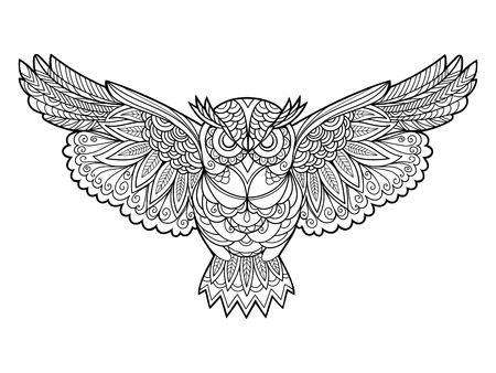 Owl bird coloring book for adults vector illustration. Anti-stress coloring for adult. Zentangle style. Black and white lines. Lace pattern Vettoriali