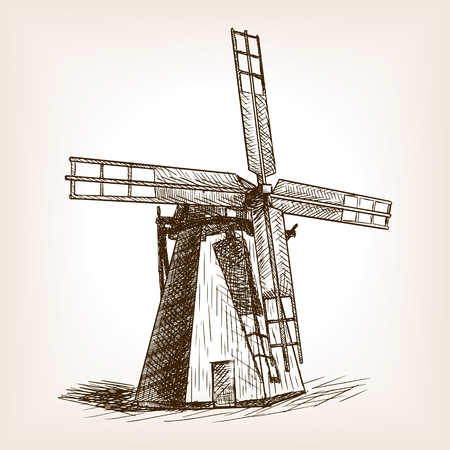 corne: Windmill sketch style vector illustration. Old engraving imitation. Wind mill hand drawn sketch imitation