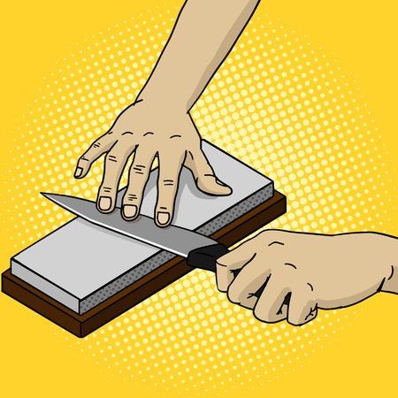 sharpen: Man sharpen knife pop art style vector illustration. Comic book style imitation. Vintage retro style. Conceptual illustration Stock Photo