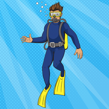 aqualung: Diver uder water with aqualung pop art style vector illustration. Human illustration. Comic book style imitation. Vintage retro style. Conceptual illustration