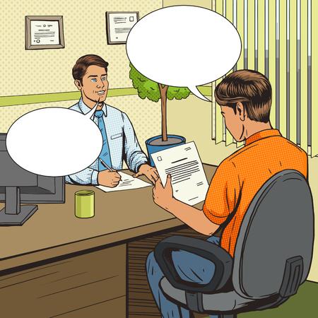 Businessman in bank office pop art retro style vector illustration. Comic book style imitation. Man talks with banker. Human illustration. Vintage retro style. Conceptual illustration